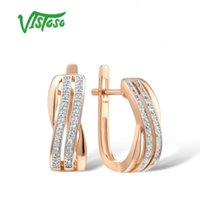 Designer original Charm rose gold earrings ladies charming and elegant shiny diamond luxury wedding engagement high jewelry