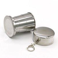 140ml / 240ml 스테인레스 스틸 휴대용 야외 여행 캠핑 접이식 접이식 컵 금속 텔레스코픽 키 체인 DHL 464 R2