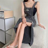 Casual Dresses Side Split Jeans For 2021 Korean Girl Fashion Streetwear Women Party Sexy Maxi Dress Tank Black Distressed Denim Clothes