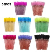 Disposable 50 Pcs Pack Crystal Eyelash Makeup Brush Diamond Handle Mascara Wands Extension Tool Brushes