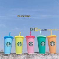 2021 Starbucks Кружки 5 шт. Цвет Изменение Кубок Кубок Тумблеров 24 унций / 710 мл Пластиковая кружка Многоразовая четкое питьевая плоская нижняя колонна формы крышки соломенный чашкой чая