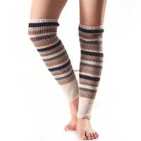Knee High Multicolor Stripe Leg Warmers Socks Knit Boot Cuffs Toppers Leggings Shoes Women Girls Autumn Winter Loose Stockings Clothing Will and Sandy