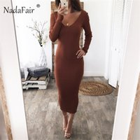 Nadafair Midi Sexy Off Shoulder Dress Long Autumn Winter Long Sleeve Red Black White Knitted Sweater Bodycon Dress Women