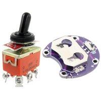 Control de la casa inteligente 15A / 250VAC ON / OFF / OFF / ON 3 POSICIÓN DPDT Toggle Interruptor para el soporte de la batería de la celda de la moneda de LilyPAD CR2032 MODE DE MONTAJE