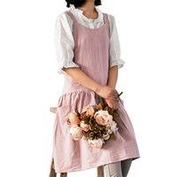 여성 방오스 굽는 크로스 백 포켓 요리 앞치마 드레스 작업복 가정용 청소 도구 앞치마 210625
