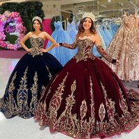 2021 Bling Burgundy Quinceanera Ball Gown Dresses Velvet Strapless Gold Sequined Lace Appliques Sweep Train Plus Size Prom Evening Gowns Sweet 16 Dress Long Sleeves