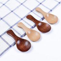 Naturel Wooden Coffee Tea Sugar Salt Spoon Scoop Kitchen Utensil Set MINI Wood Spoon Cooking Tool c796 for shipping BWD7016