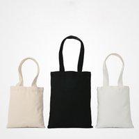 DIY Blank White Canvas Storage Bag Eco Reusable Foldable Shopping Bags Cuctom Black Beige Handbag