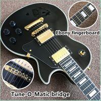 arrival high Quality Custom Shop Black Color Electric Guitar with EBONY fingerboard and tune matic bridge gutiarra