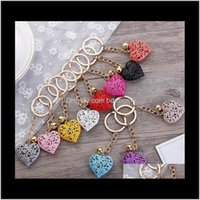 Aessories Drop Delivery 2021 Hollow Heart Keychains Fashion Charm Cute Purse Bag Pendant Car Keyring Chain Ornaments Gift Wholesale Xz1Id