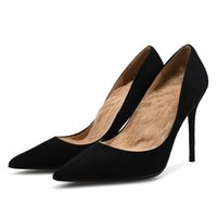 Dress Shoes Big Size Pumps 2021 Pointed Toe Fashion Woman Casual High Heels Slip On Work Professional H0011