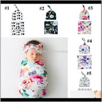Born Baby Swaddle Blanket Bow Headband Hat 3 Pcs Wrap Ins Toddler Cartoon Dinosaur Sleep Sacks Shark Pography Prop Ytur Ubrcj