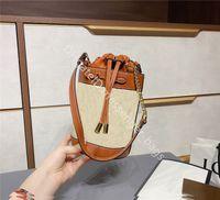 2021 Lady Fashion Sumbags Artwork Натуральная кожа Классический ретро All-Match Простота DrawString Horsebit Случайные ведровые Сумки