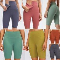3 estilo de yoga lulu mujeres leggings pantalones cortos de cintura alta breasted womens entrenamiento gimnasio desgaste LU 68 Color sólido Deportes Deportes sin fisuras Fitness Lady Global Mights Short