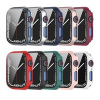Full PC Cover Cases +Tempered Glass Films Bumper Screen Protector for Apple Watch iWatch Serie 7 6543 Size 41mm 45mm 38 40 42 44