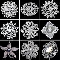 Bridal wedding Brooch Bouquet Corsage Flower bow Mix styles Hollow rhinestone wholesale Sparkly Crystal Round Fashion DFF4337