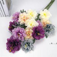 Novo 3 cabeças peônia seda artificial vintage peônia simulação flor 63 cm em comprimento flores falsas para casamento diy home decor ewd5530