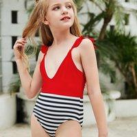 2021 Büyük Kızlar Şerit Mayo Yaz Çocuk Fırfır Ekleme Tek Parça Mayo Moda Çocuk Bikini Spa Beach Mayo C6984