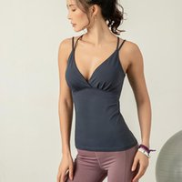 Yoga Outfits Sport Wear Women Sleeveless Workout Tank Top Fitness Padded Bra Black Pink Blue Racerback Gym Vest