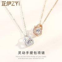 Zhiyi S925 Sterling Sier Small Smart Creative Handbag Necklace Light Luxury Niche Design Sense Clavicle Chain Female