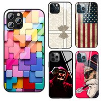 Cool Design Tempering Glass Phone Cases For iPhone 12 Pro Max 13 11 Xr X Xs 7 8 6s Samsung Galaxy Note20 Ultra S21 S20 Plus S9 Robot 9D Rugged Scratchproof Cover
