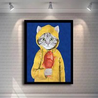 1p Cat Hanging Fish Painting Animali adorabili Canvas Art Modern Wall Picture per bambini Poster