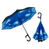 Paraguas inverso multicolor Umbrella con mano paraguas double paño a prueba de intemperie publicitaria paraguas creatividad lluvia engranaje ahe5320