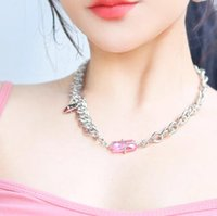 KVK Chain Necklace for Women Pink Peach Crystal Ruby Red Choker Necklaces Can Be Reorganized