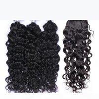8a Бразильские девственницы человеческие волосы плетеные расслоения с кружевными замыканиями перуанской индийской малазийской камбоджийской водной волны влажные и волнистые натуральные волосы