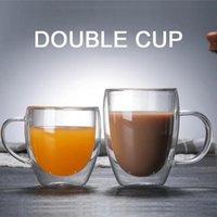 Wine Glasses 2pcs Double Wall Glass Mug Resistant Tea Beer Milk Juice Cup Drinkware Lover Coffee Cups Gift Verre Paroi