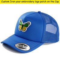 Fabriek borduurwerk logo / brieven patch kinderen gebogen rand caps jongen hiphop trucker cap snoep sun petten kids mesh honkbal hoed aangepast steek logo label