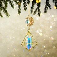 Decorações Jardim Brilhante Cristal Pingente de Vento Chime Luz Lua Lua Prisma Artesanato Decoração de Chandeliers Decoração