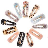 Clip de cheveux acrylique de style mignon pour filles femmes femmes goutte de goutte forme léopard marbre texturé geometric canardbill barrette coiffure AHA4516
