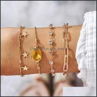 Charm Jewelrycharm Bracelets Tocona 4Pcs Sets Charming Star For Women Shiny Crystal Stone Hollow Geometric Tassel Bangle Jewelry Gift 142121