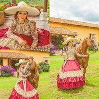 Traditional Red Mexican Quinceanera Dresses V Neck Embroidered Lace Long Sleeve Prom Cinderella Princess Cowgirl Sweet 16 Birthda