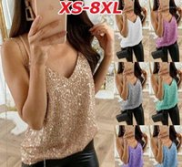 Crop Tops V Neck Spaghetti Strap Ladies Tanks Plus Size Sexy Female Camis Summer Womens Sequins