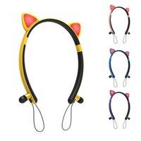 Wireless Cute Cat Eaut наушники с микрофоном Светодиодные световые мигающие светящиеся на-ушной стерео-гарнитуру Сотовый телефон крепления держатели