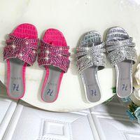 العلامة التجارية الجديدة المرأة شبشب صندل أحذية جينا السيدات الشقق الكعوب صندل أحذية مع الماس جودة عالية!
