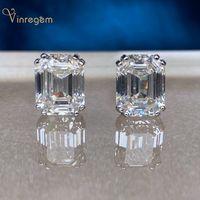 Vinregem 100% 925 Sterling Argent Sterling Emerald Cut G créée Moissanite Diamonds Gemstone Boucles d'oreilles Goutures oreilles Bijoux Fine Bijoux En gros 210323