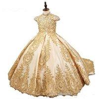 Girl's Dresses Champagne Girls Pageant For Weddings Ball Gown Cap Sleeves Appliques Beaded Long Flower Girl Little
