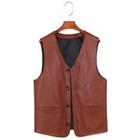 2021 Men' s Head Leather Casual Vest V- neck In Autumn An...