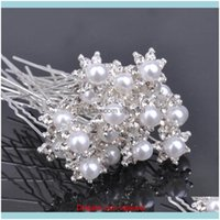 Hairpins Jewelry Jewelryclear Crystal Wedding Party Bridal Rhinestone Pearl Hair Pins Clips Ps2425 Drop Delivery 2021 Bcxr0