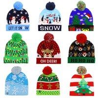 Maglione del cappello di natale a LED Maglia a maglia Lana Xmas Light-Up Colorful Elegante Berretto Berretto Cappelli Bambini 2021 Regali Decorazione Capodanno
