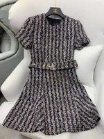 2021 Autumn 76% Wool Women Dress Designer Short Sleeves Tweed Zipper Mermaid Dresses Womens Milan Runway Vestidos De Festa 80306