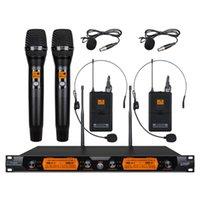 ميكروفونات VMEQO UHF 4-قناة المواد المعدنية نظام ميكروفون لاسلكي مع 2 bodypack واليد المحمولة لحزب عائلة الكنيسة المرحلة