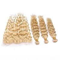 Platinum Bionda Frontale Chiusura e Bundles 613 Wave Wave Capelli Malesiani Weaves con pizzo frontale bagnato e ondulato bionda capelli umani estensioni dei capelli umani