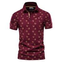 Negizber 100% Pamuk T Gömlek Baskılı Kısa Kollu Rahat Yaz erkek Polo Gömlek Yüksek Kalite Marka Erkek Giyim