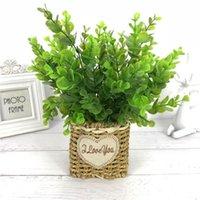 Decorative Flowers & Wreaths 7 Fork Artificial Plants Eucalyptus Grass Plastic Ferns Green Leaves Fake Flower Plant Wedding Home Decoration