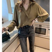 Shirts Womens Tops And Blouses Long Sleeve Spring Ladies Solid Loose Style Bottoming V-neck Mature Women's &
