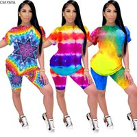 Women Sets Summer Tracksuits Fitness Short Sleeve Tie-dye Print Tops+Shorts Suit Two Piece Set Sporty 2 Pcs Outfits GL5182 Dress